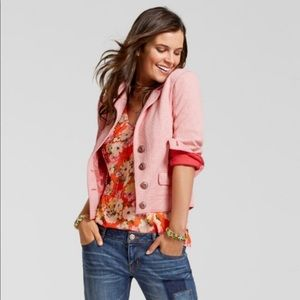 CAbi Amelia Red and Pink Cropped Blazer EUC S